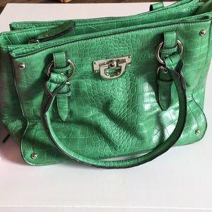 Alligator print handbag faux green